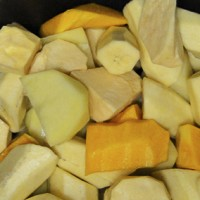 matoke, potatoes, sweet potatoes & butternut in one pot