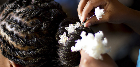 photo of hair being styled for wedding