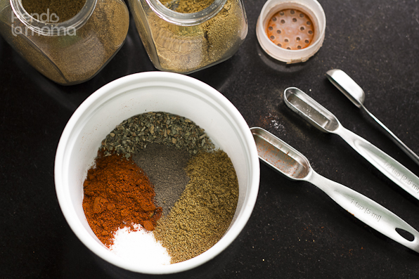 measure all the spices and herbs into a container that you can use to store the mix if you son't use it all, something with a cover