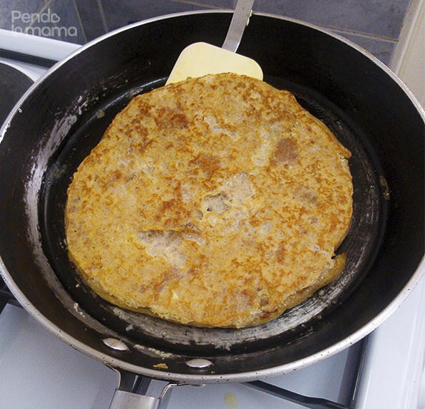 keep the heat medium to low, don't want it to burn before it cooks all the way through. After about 3 minutes check it, if it's ready, flip it over