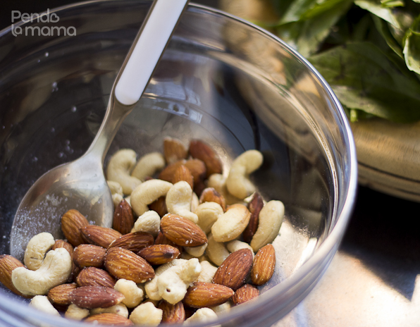 almonds and cashews, about a handful each, cooked and lightly salted
