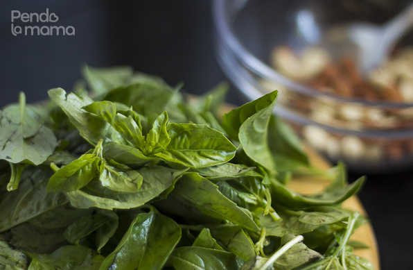 fresh basil, three bunches, washed and dabbed dry with a napkin
