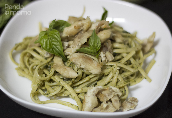 serve with chicken on top, garnish with a few basil leaves