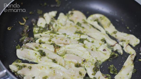 then add the chicken strips