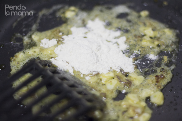as soon as the butter melts, add a tablespoon of flour,... still on low heat