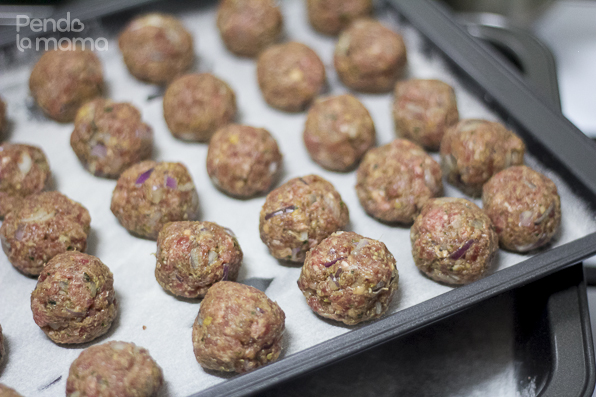 once you are done mixing, roll the meatballs using your hands in the size you prefer.