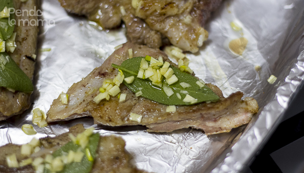 arrange the ribs on a foiled oven dish and spread the garlic and sage mix on top of each piece