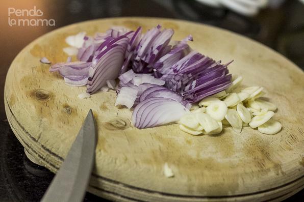sliced onions and garlic
