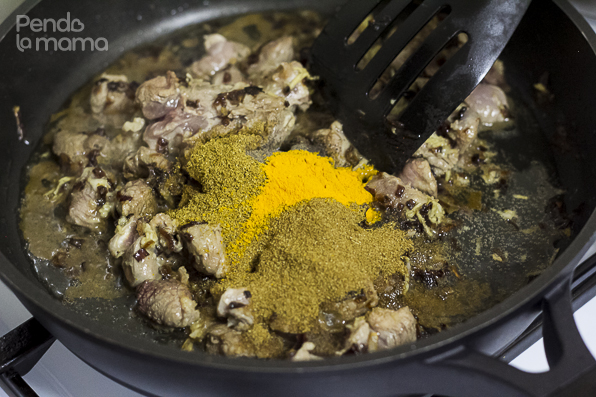 then add 1tsp turmeric, 3tsp coriander, 3tsp cumin powders, 1/2tsp ground black pepper 2 bay leaves. Stir,....