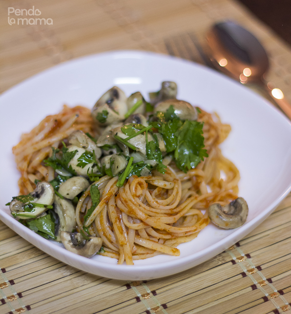 serve the linguine and top with the sautéd mushsrooms