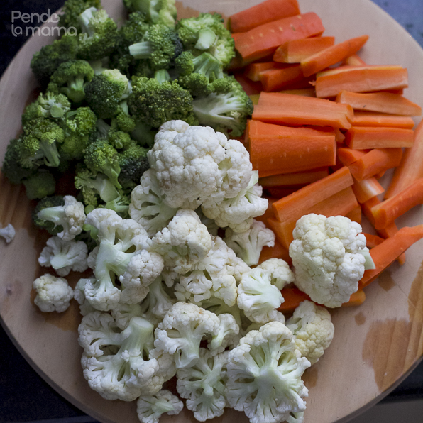 wash and chop the broccoli, cauliflower and carrots into nice chunky sizes