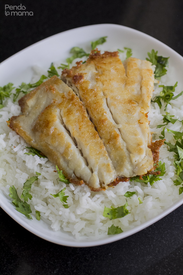 I sprinkled some warm rice with dhania and laid the pan fried piece of red snapper on top