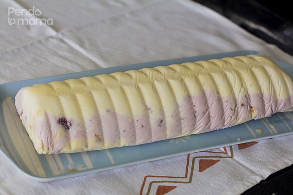 then lift the cling film up with the dish and voila! — ice cream cake!!