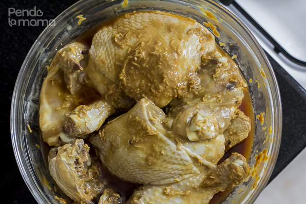 this was taken on day 2, after it had been marinating overnight,... time to cook it!