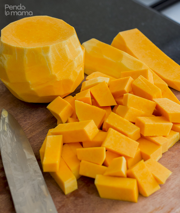 start with the butternut. Cut into bite size chunks, coat with a bit of oil and sprinkle some salt