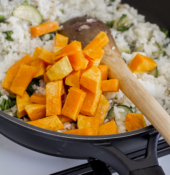 then add the roasted butternut chunks and mix