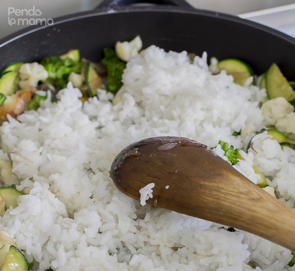 take the pan off the heat to stir in the rice