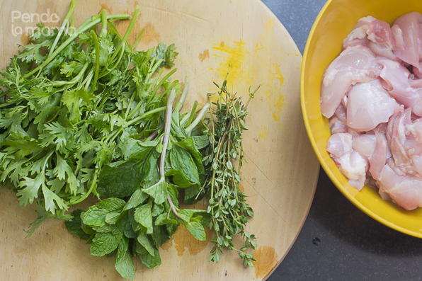 The herbs I chopped up for the marinade: