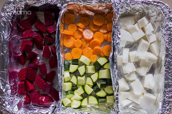 used foil to make little compartments so that the colour from the beets and the coconut oil in the turnips wouldn't mix with the others