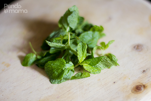 for the garnish, chop up some fresh mint and ...