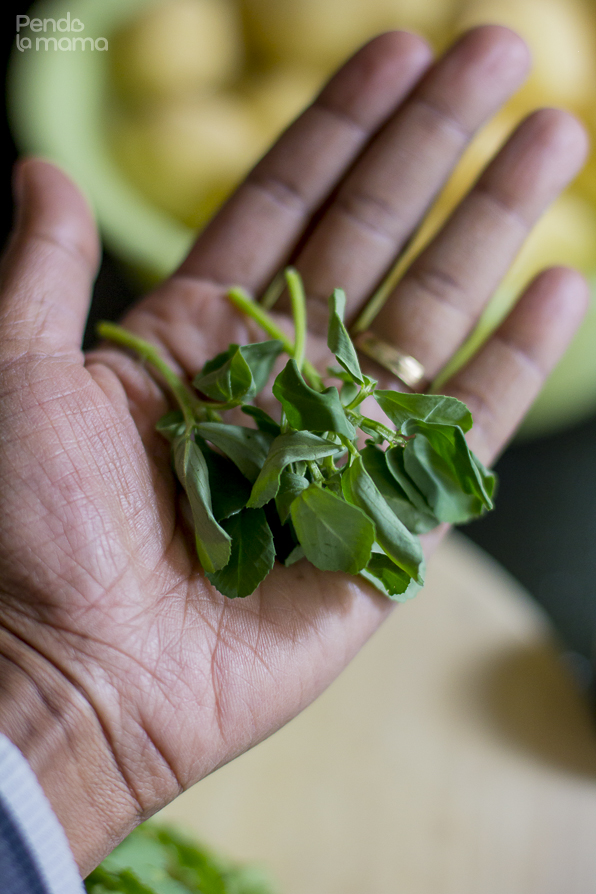 the amount of methi/fenugreek leaves I used